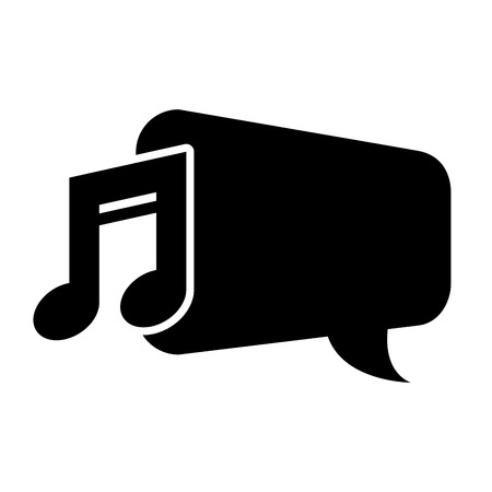 silhouete: speech bubble with musical note icon silhouete. vector illustration