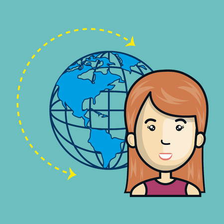 avatar woman cartoon with earth planet world sphere. global network connection theme. vector illustration Illustration