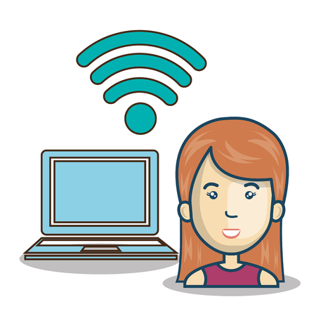 antennas: avatar woman cartoon with wireless signal icon and laptop computer. vector illustration