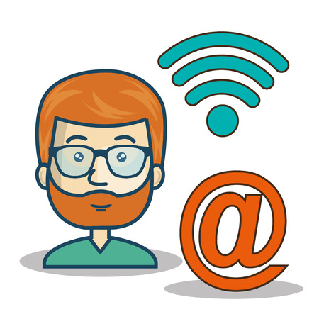 avatar man cartoon with wireless signal icon and at symbol. vector illustration