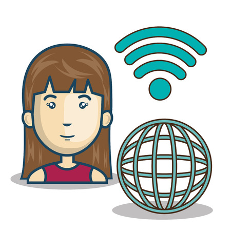 wireless connection: avatar woman cartoon with wireless signal icon and global sphere network connection. vector illustration Illustration