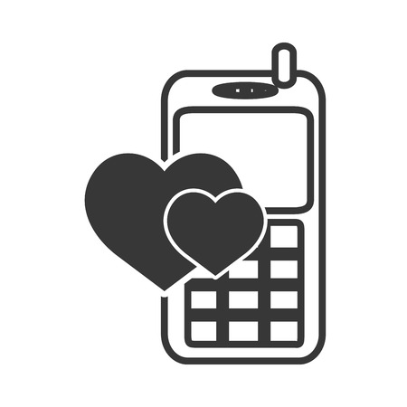 retro mobile phone device with hearts shape icon silhouette. vector illustration