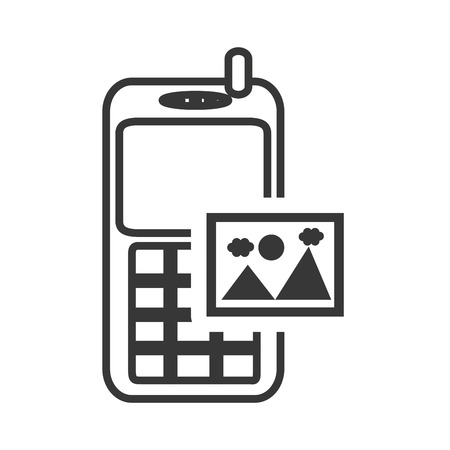 gsm phone: retro mobile phone device with picture icon silhouette. vector illustration Illustration