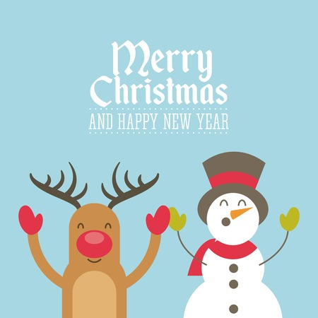merry christmas animal character holiday december vector illustration design