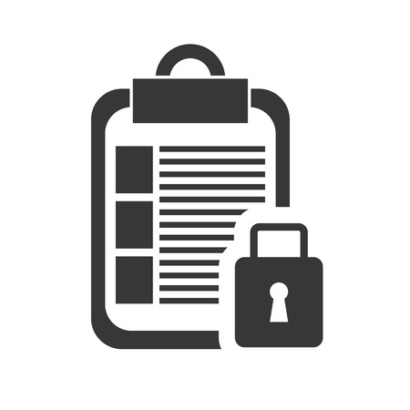 paperboard: file document page and pen with security lock icon silhouette. vector illustration