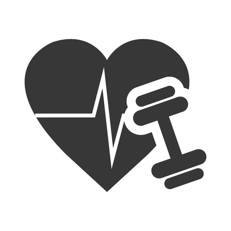 cardio: cardio pulse heart with dumbbell icon silhouette. vector illustration