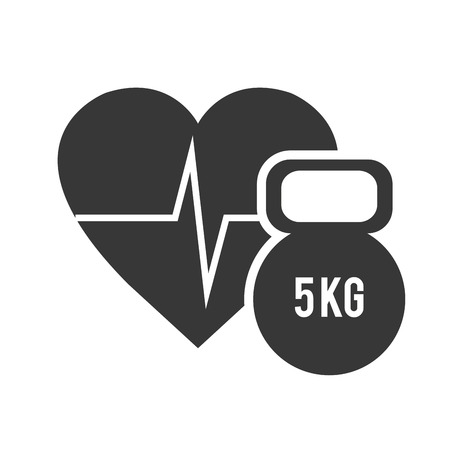 pulsating: cardio pulse heart with dumbbell icon silhouette. vector illustration
