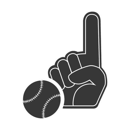 fandom: sport hand glove with baseball ball icon silhouette. vector illustration Illustration
