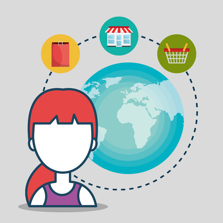 avatar woman with shopping and ecommerce icon set. colorful design. vector illustration Illustration