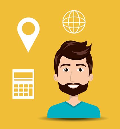 avatar man with shopping and ecommerce icon set. vector illustration Illustration