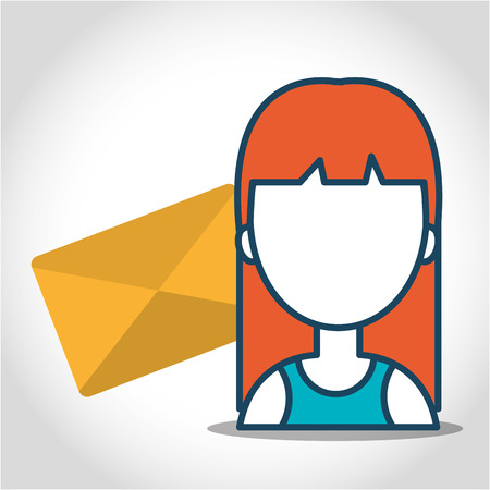 avatar woman person with envelope mail icon. vector illustration