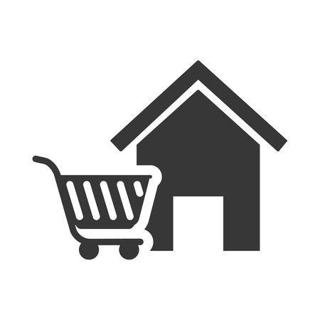 residential neighborhood: house property shape with shopping cart icon silhouette. vector illustration Illustration