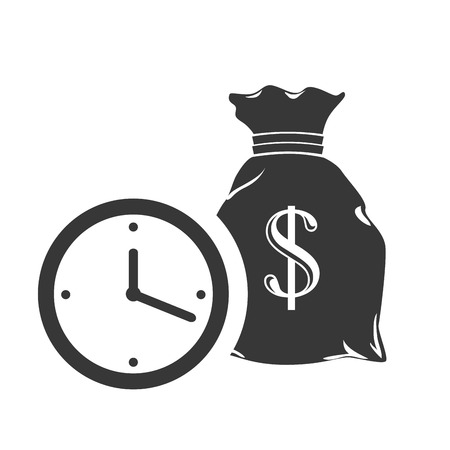 sack with money symbol and time clock icon silhouette. vector illustration Illustration