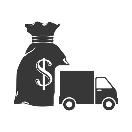 sack with money symbol and cargo truck icon silhouette. vector illustration