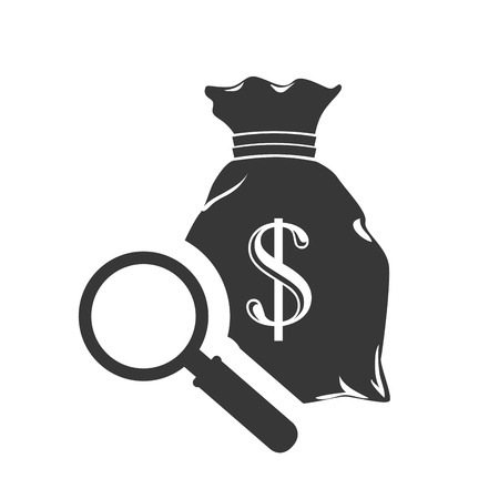 sack with money symbol and magnifying glass icon silhouette. vector illustration