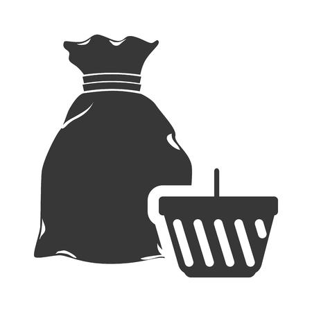money sack: money sack symbol and shopping basket icon silhouette. vector illustration