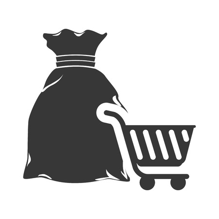 money sack: money sack and shopping cart icon silhouette. vector illustration
