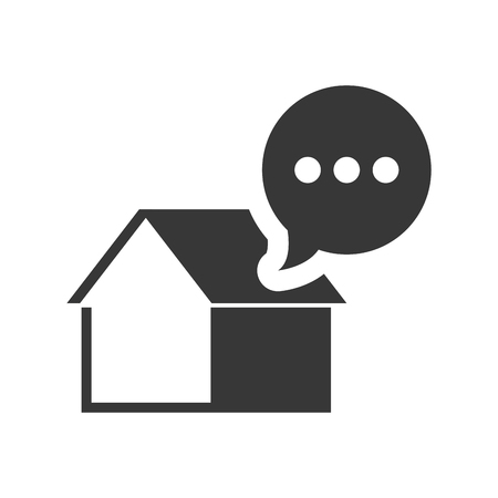residential neighborhood: house property shape with speech bubble icon silhouette. vector illustration Illustration