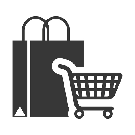 supermarket trolley: shopping bag with supermarket trolley icon silhouette. vector illustration