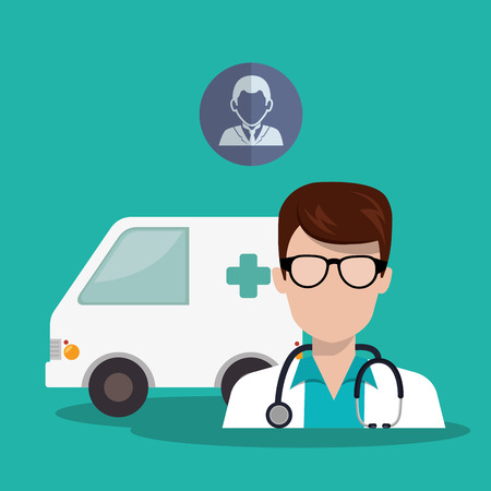 revive: avatar man medical doctor with emergency ambulance vehicle and medicine icon. colorful design. vector illustration Illustration