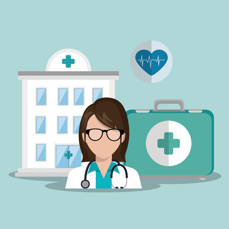 hospital center and avatar woman doctor with stethoscope and medicine icon set. colorful design. vector illustration