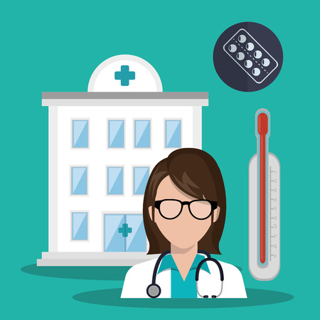 revive: hospital center and avatar woman doctor with stethoscope and medicine icon set. colorful design. vector illustration