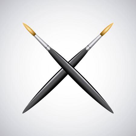 unused: paint brush supply school vector illustration design