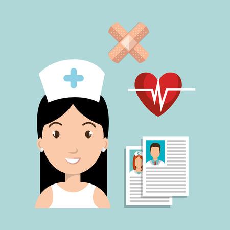 avatar woman nurse with medicine icon set. colorful design. vector illustration