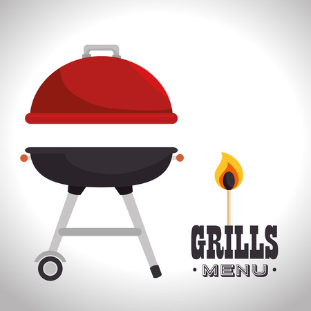 barbecue grill steak house. colorful design. vector illustration