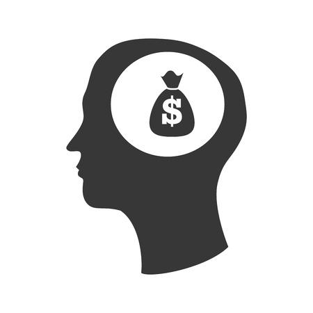 money sack: human head profile with money sack icon silhouette. vector illustration Illustration
