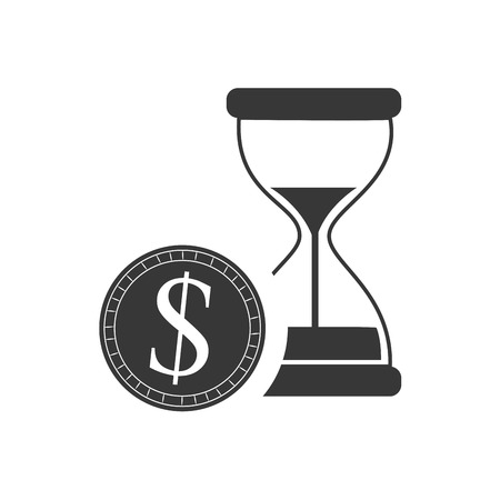 hourglass or sandclock with money coin icon silhouette. vector illustration Illustration
