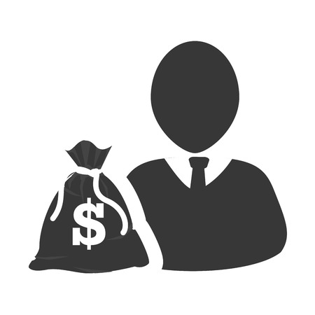 money sack: avatar man person social user with money sack icon silhouette. vector illustration