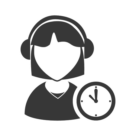 executive assistants: avatar woman online support call center with time clock icon silhouette. vector illustration