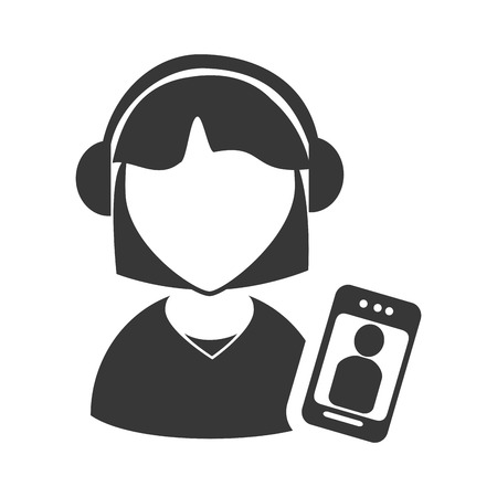executive assistants: avatar woman online support call center with smartphone device icon silhouette. vector illustration
