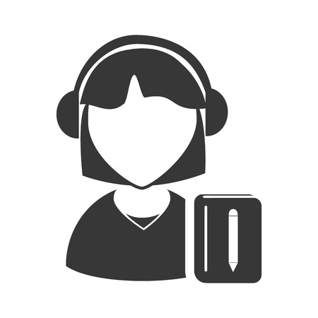 online support: avatar woman online support call center with notebook icon silhouette. vector illustration Illustration