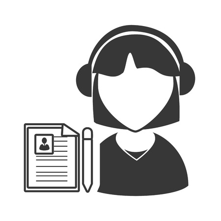 online support: avatar woman online support call center with document page icon silhouette. vector illustration