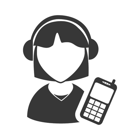 executive assistants: avatar woman online support call center with mobile phone icon silhouette. vector illustration