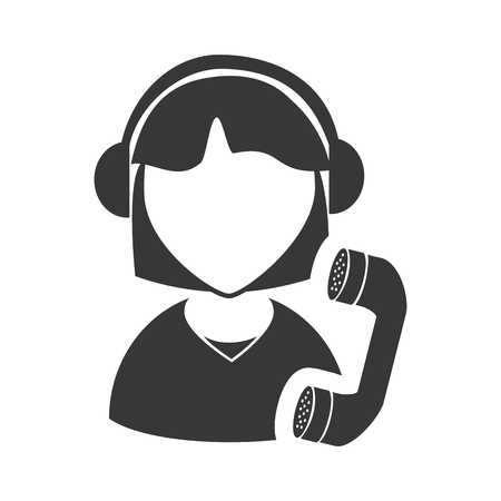 executive assistants: avatar woman online support call center with telephone headset icon silhouette. vector illustration Illustration