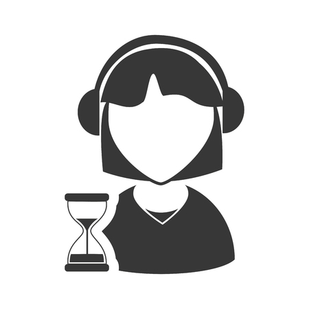 online support: avatar woman online support call center with sand clock icon silhouette. vector illustration