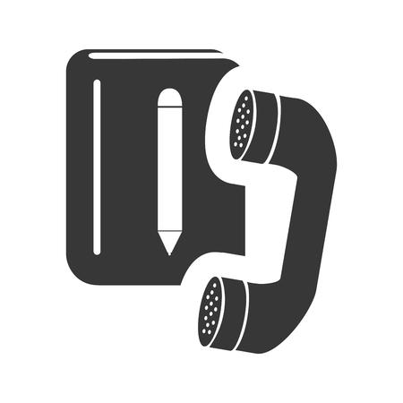 directorio telefonico: cuaderno directorio con el icono del auricular de tel�fono silueta. ilustraci�n vectorial