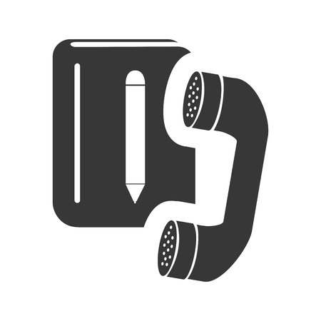 telephone: directory notebook with telephone headset icon silhouette. vector illustration