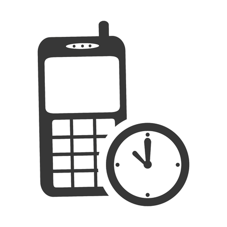 phone time: mobile phone device with time watch icon silhouette. vector illustration Illustration