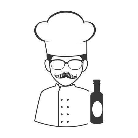 avatar food chef man with sauce bottle icon silhouette. vector illustration