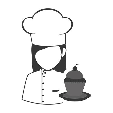 cocinero de la mujer alimentos avatar con el icono de la magdalena postre dulce silueta. ilustración vectorial
