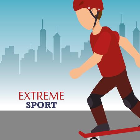 man training skateboarding extreme sport. colorful design. vector illustration Illustration