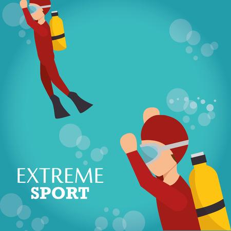 skydiver: man training diving extreme water sport. colorful design. vector illustration Illustration