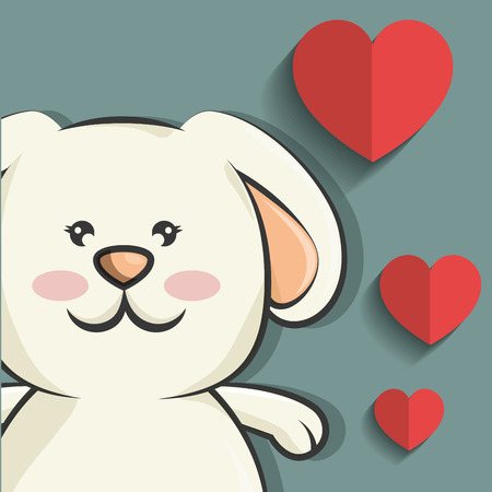 rabbit standing: cute rabbit animal with red heart shape. love bunny. colorful design. vector illustration Illustration