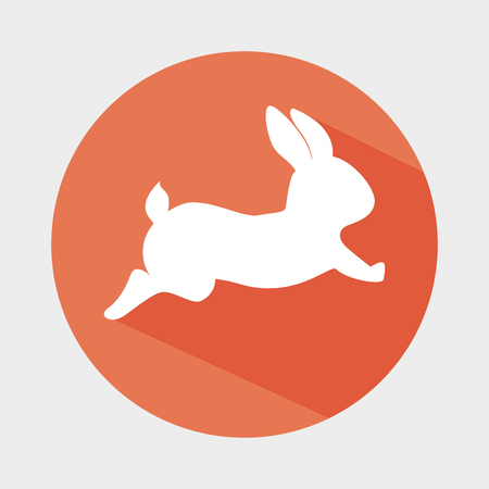 silhouette lapin: cute rabbit shape animal. bunny cartoon over colorful circle. vector illustration Illustration
