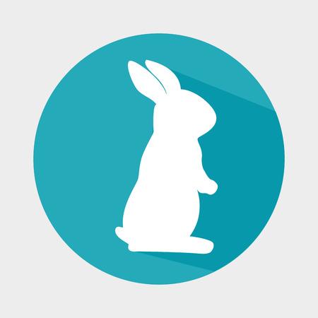 lapin silhouette: cute rabbit shape animal. bunny cartoon over colorful circle. vector illustration Illustration