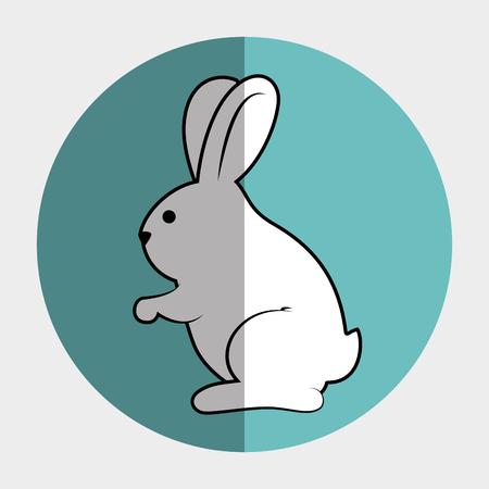 silhouette lapin: mignon animal forme de lapin. bande dessinée de lapin sur un cercle coloré. illustration vectorielle